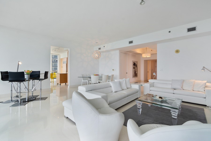 Real Estate Photography - 16001 Collins Ave., 1401, Sunny Isles Beach, FL, 33160 - Kitchen / Living Room