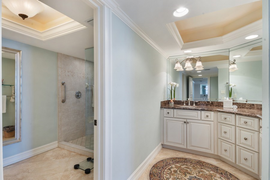 Real Estate Photography - 280 S. Collier Blvd., Summit House #1805, Marco Island, FL, 34145 - Master Bathroom