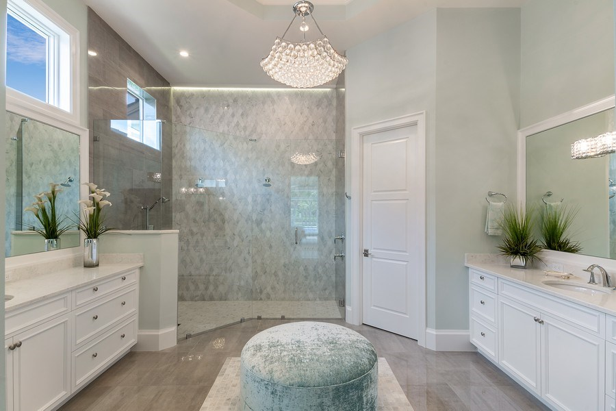 Real Estate Photography - 6888 Leeward Way, Naples, FL, 34109 - Fabulous Master bath-Look at this shower!