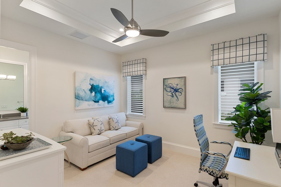 Real Estate Photography - 6888 Leeward Way, Naples, FL, 34109 - Guest Suite #4 w/full bath, furnished as Office/De