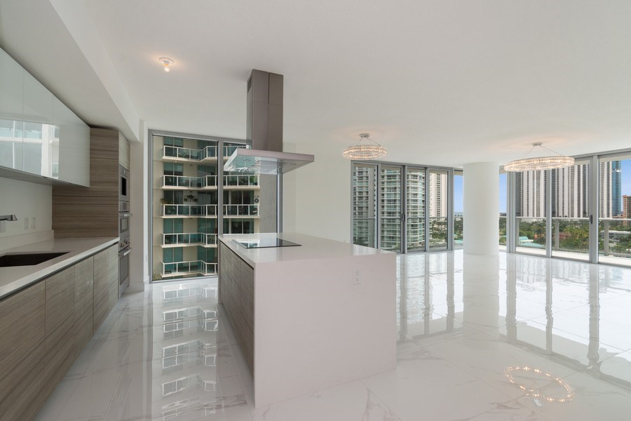 Real Estate Photography - 300 Sunny Isles Blvd., 802, Sunny Isles Beach, FL, 33160 - Kitchen / Living Room
