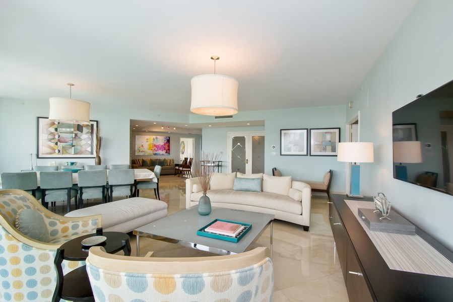 Real Estate Photography - 19955 NE 38th Ct. #601, Aventura, FL, 33180 - Living Room