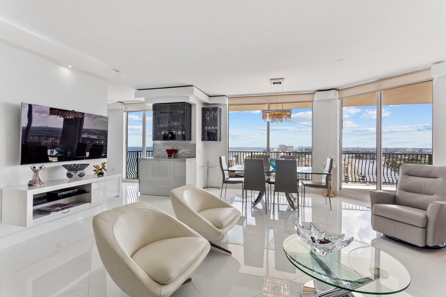 Real Estate Photography - 100 South Birch Road #2404E, Fort Lauderdale, FL, 33316 - Living Room/Dining Room