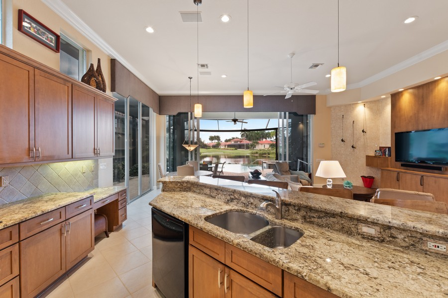 Real Estate Photography - 1420 Via Portofino, Naples, FL, 34108 - Kitchen / Living Room