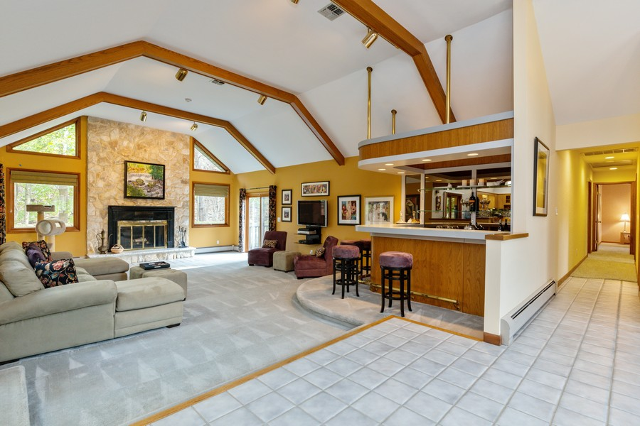 Real Estate Photography - 65 Rosman Rd, Thiells, NY, 10984 - Wood Burning Fireplace & Wet Bar