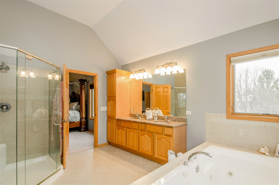 Real Estate Photography - 12265 Oakcrest Drive, Huntley, IL, 60142 - Master Bathroom