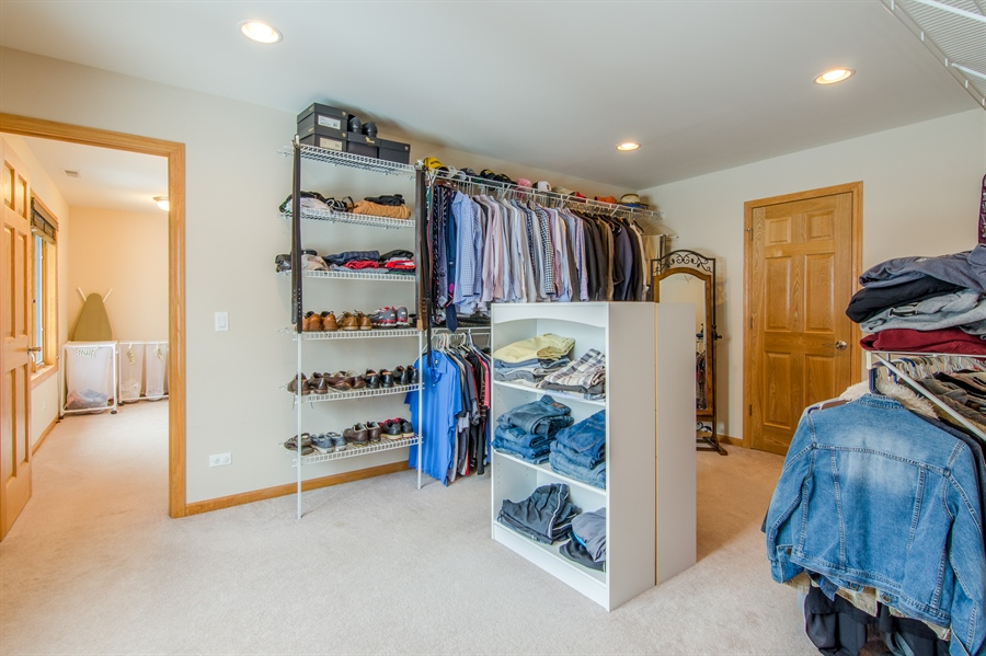 Real Estate Photography - 12265 Oakcrest Drive, Huntley, IL, 60142 - Master Bedroom Closet