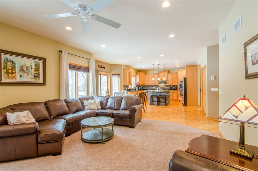 Real Estate Photography - 12265 Oakcrest Drive, Huntley, IL, 60142 - Family Room / Kitchen
