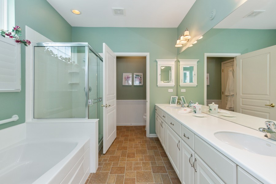 Real Estate Photography - 11890 Covey Lane, Huntley, IL, 60142 - Master Bathroom
