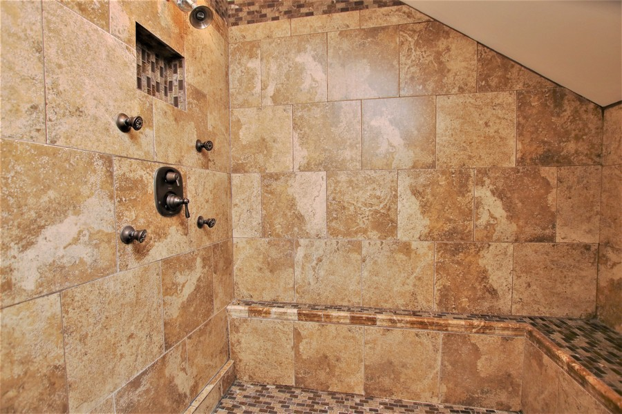 Real Estate Photography - 214 Oregon Avenue, West Dundee, IL, 60118 - Remodeled Shower