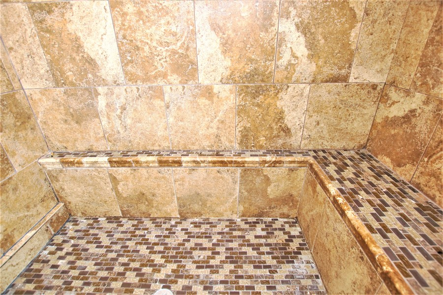 Real Estate Photography - 214 Oregon Avenue, West Dundee, IL, 60118 - Mosaic Tile Seat & Floor Accents the Shower