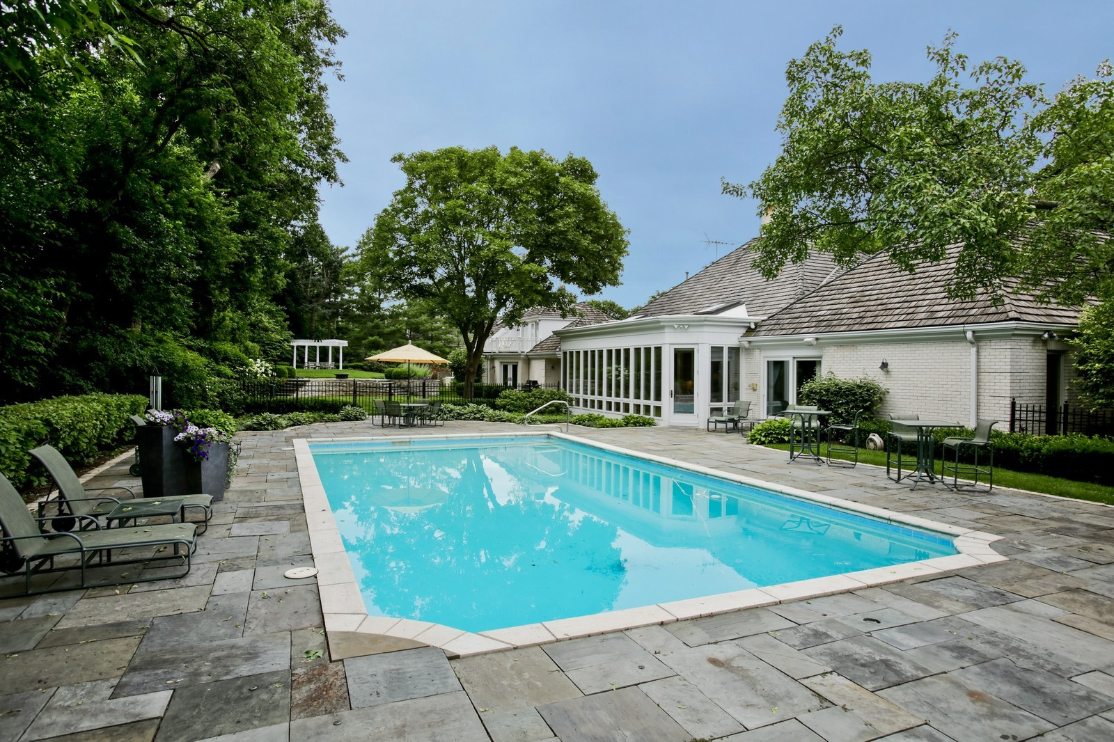 Real Estate Photography - 25W445 Plamondon Rd, Wheaton, IL, 60189 - Pool Area and Terrace