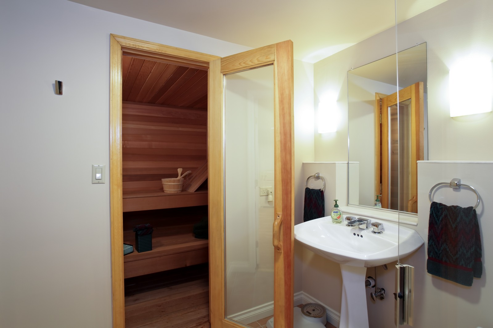 Real Estate Photography - 25W445 Plamondon Rd, Wheaton, IL, 60189 - Basement Full Bath with Sauna