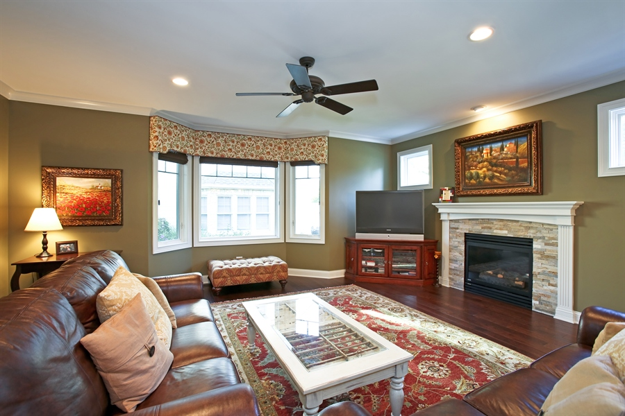 Real Estate Photography - 436 Davis, Downers Grove, IL, 60515 - Family Room w Stone Fireplace