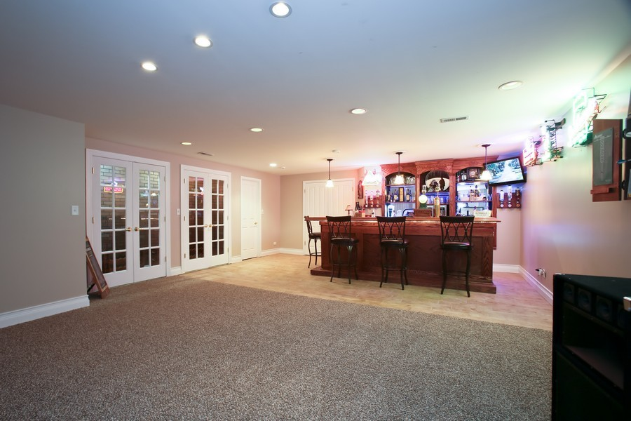 Real Estate Photography - 4712 Seeley AVE, Downers Grove, IL, 60515 - Rec Room with Wet Bar and Wine Room