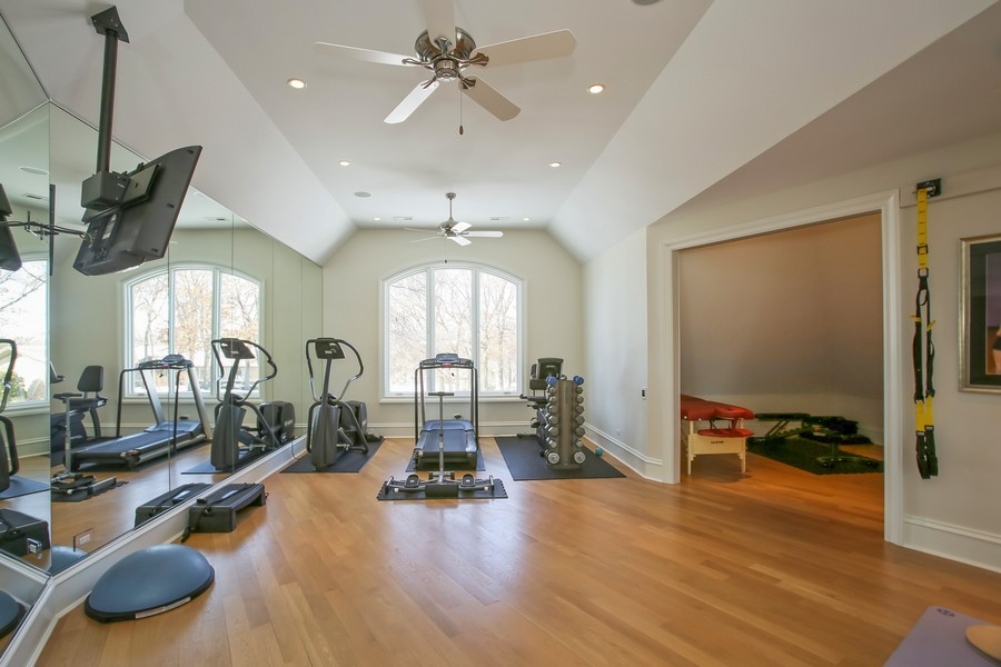 Real Estate Photography - 19 Baybrook Ln, Oak Brook, IL, 60523 - Exercise Studio with Two Walls of Mirrors