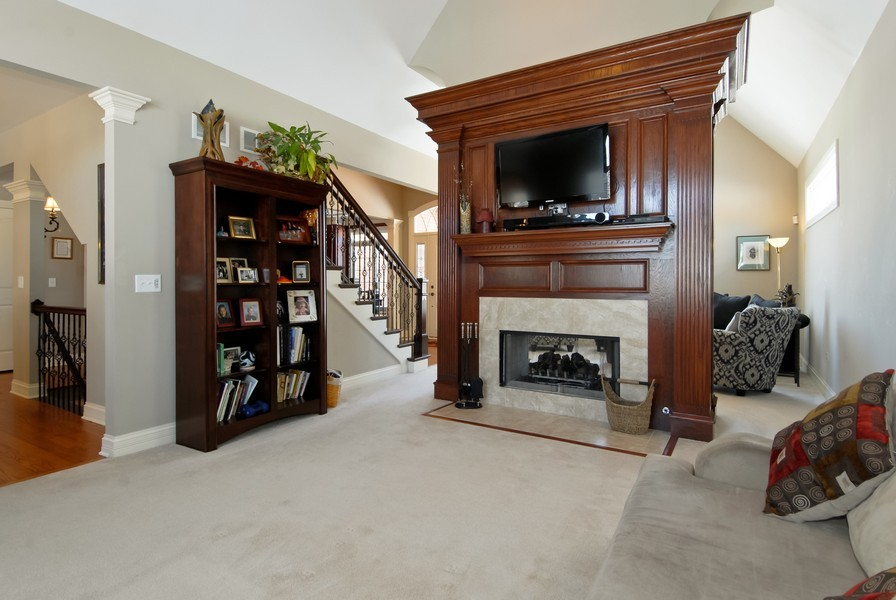 Real Estate Photography - 4164 Callery Rd, Naperville, IL, 60564 - Custom Fireplace Family Rm & Same in Living Rm!