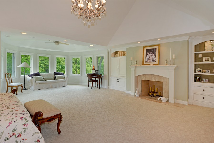 Real Estate Photography - 8S223 Derby Dr, Naperville, IL, 60540 - Master Bedroom with sitting area and fireplace