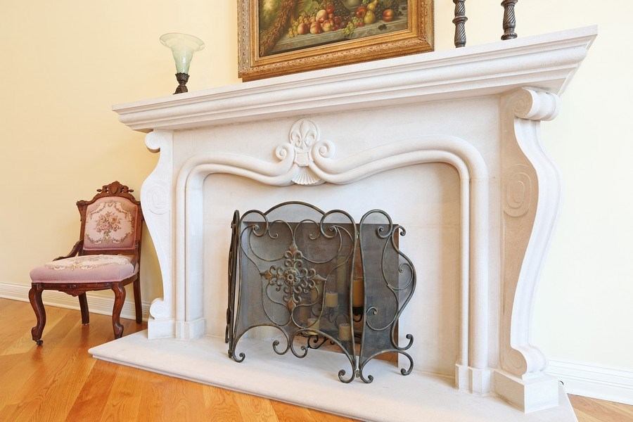 Real Estate Photography - 8S223 Derby Dr, Naperville, IL, 60540 - Limestone fireplace in living room