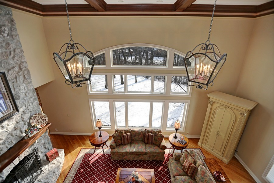 Real Estate Photography - 8S223 Derby Dr, Naperville, IL, 60540 - Family Room with custom created carriage lights