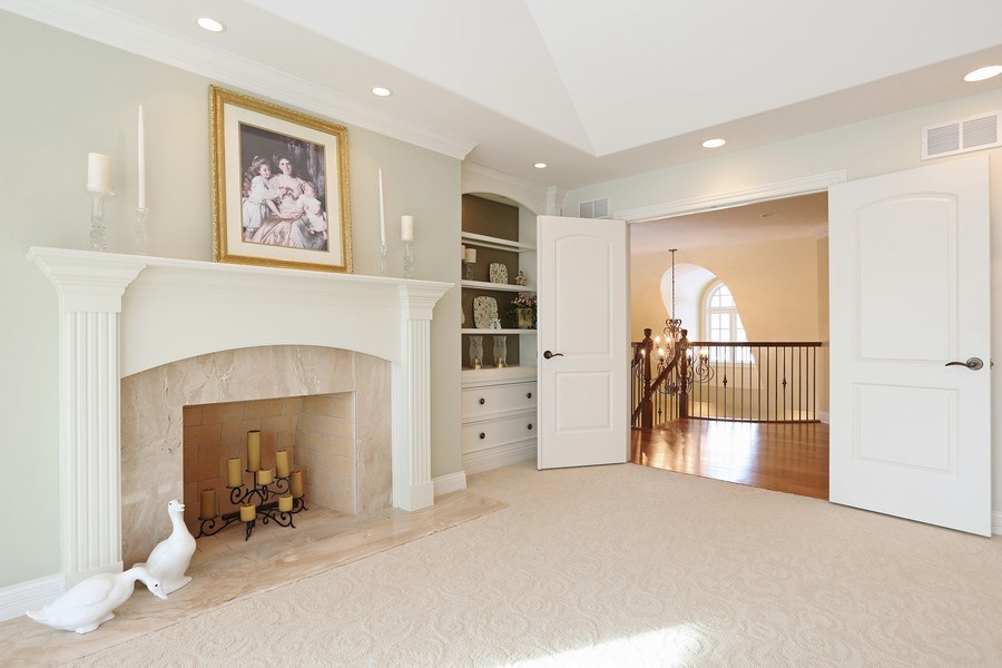 Real Estate Photography - 8S223 Derby Dr, Naperville, IL, 60540 - Master bedroom fireplace
