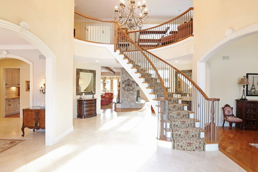 """Real Estate Photography - 8S223 Derby Dr, Naperville, IL, 60540 - Elegant floating """"Princess"""" staircase beckons you"""