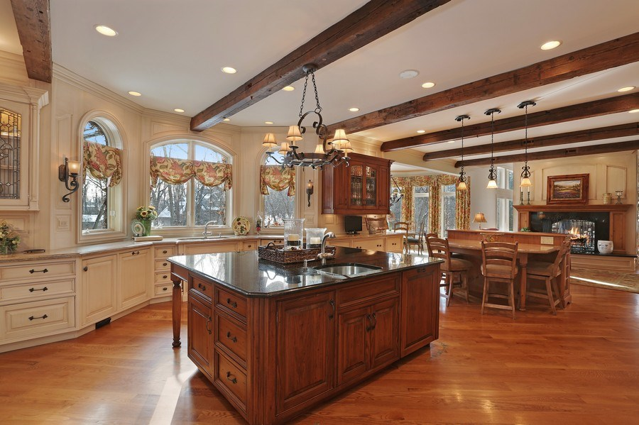 Real Estate Photography - 8S223 Derby Dr, Naperville, IL, 60540 - Kitchen with view of gathering room and breakfast
