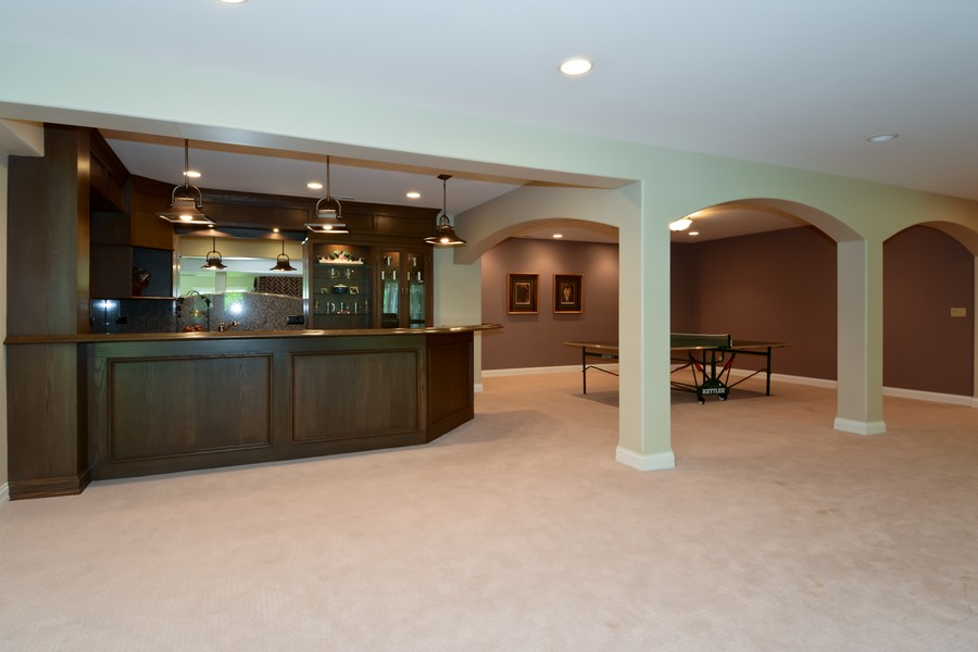 Real Estate Photography - 8S223 Derby Dr, Naperville, IL, 60540 - Basement Bar and Game Room