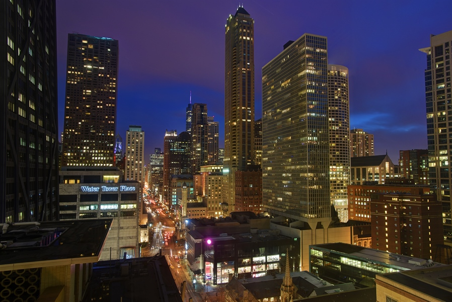 Real Estate Photography - 159 East Walton Place, #17AC, Chicago, IL, 60611 - Evening City View