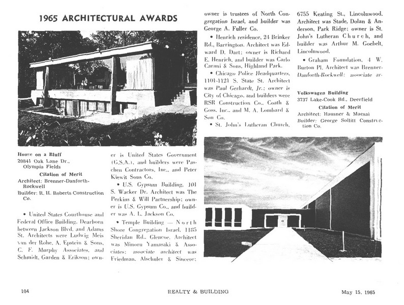 Real Estate Photography - 20841 Oak Ln, Olympia Fields, IL, 60461 - AIA Award Article, May 1965