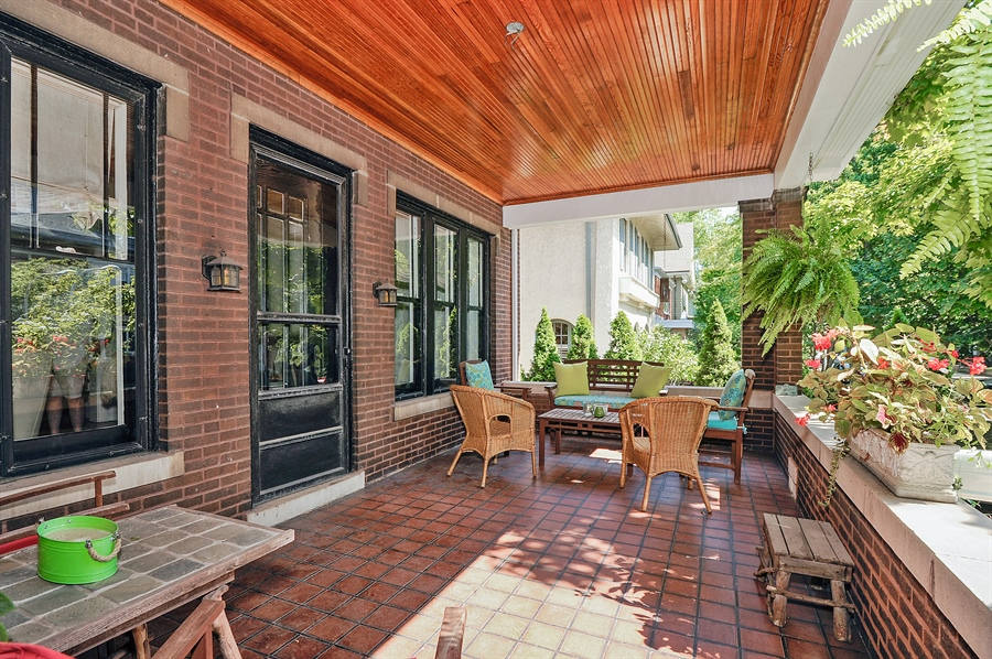 Real Estate Photography - 740 West Hutchinson St, Chicago, IL, 60613 - Front Covered Porch
