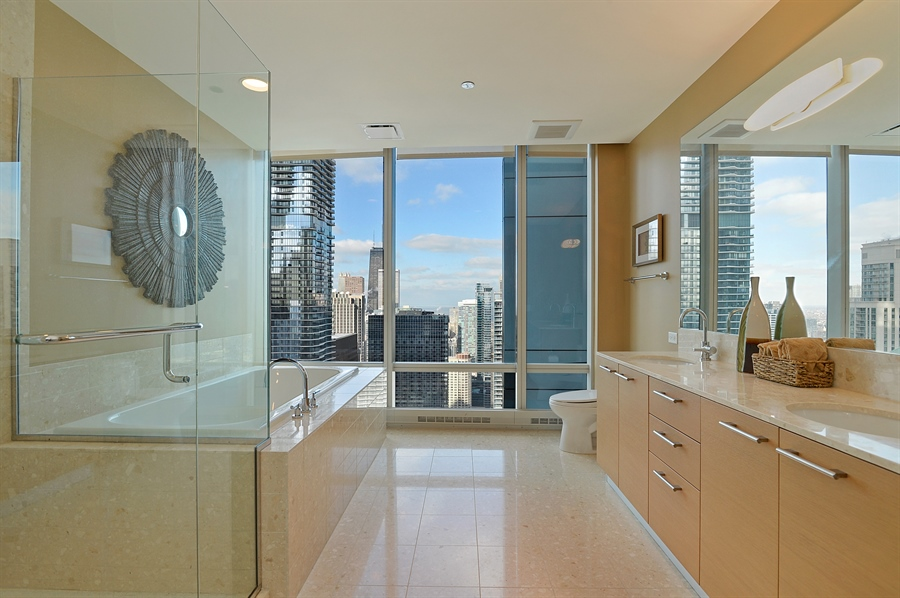 Real Estate Photography - 340 East Randolph St, 4406, Chicago, IL, 60601 - Master Bathroom