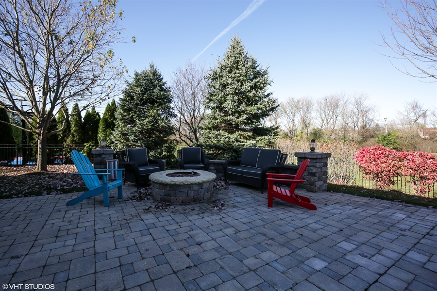 Real Estate Photography - 615 Papermill Hill Dr, Batavia, IL, 60510 - Built in Fire Pit on Paver Patio