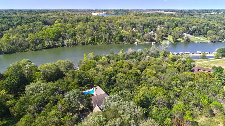 Real Estate Photography - 10125 N. River Road, Barrington Hills, IL, 60010 - Aerial View
