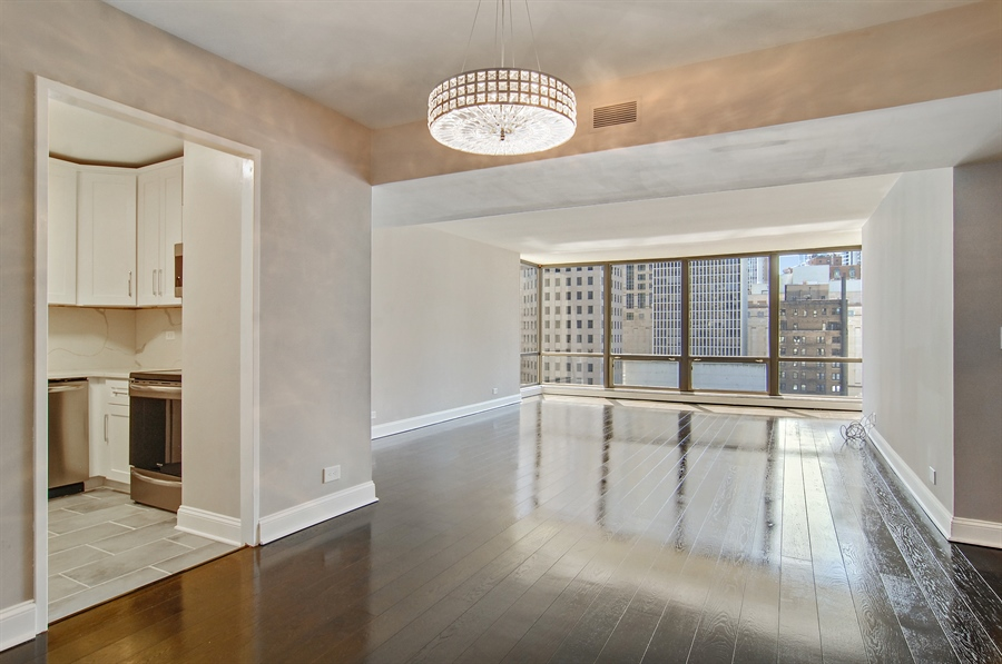 Real Estate Photography - 100 E. Bellevue Place, Unit 12C, Chicago, IL, 60611 - Living Room / Dining Room