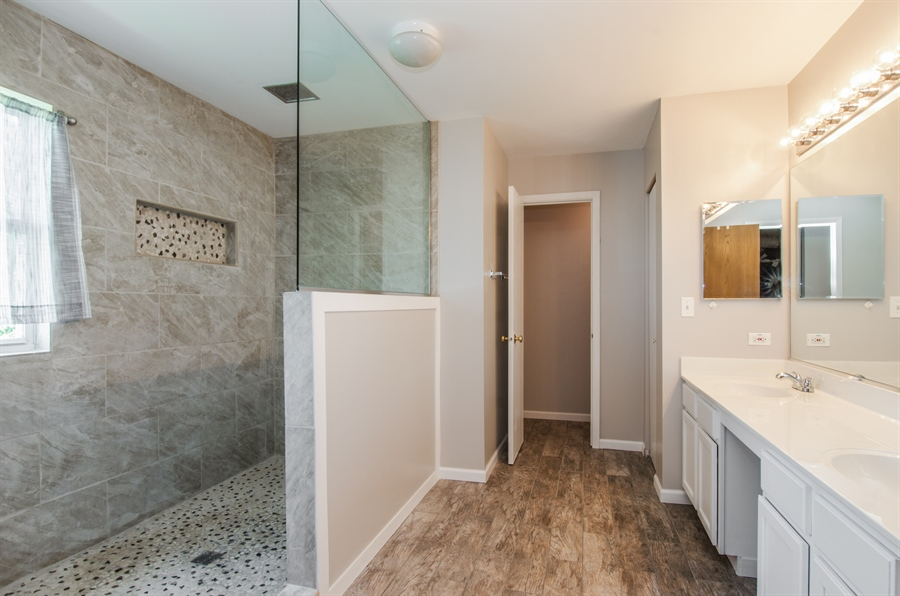 Real Estate Photography - 1402 Stanford Circle, Carpentersville, IL, 60110 - Remodeled Master Bathroom