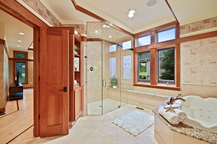 Real Estate Photography - 625 Bowling Green Court, Naperville, IL, 60563 - Luxurious master bath-steam shower, jet tub