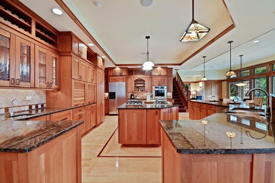 Real Estate Photography - 625 Bowling Green Court, Naperville, IL, 60563 - Custom Cherry cabinetry & art glass detail