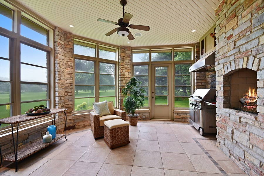 Real Estate Photography - 625 Bowling Green Court, Naperville, IL, 60563 - 3+ season porch w/FP & built in grill