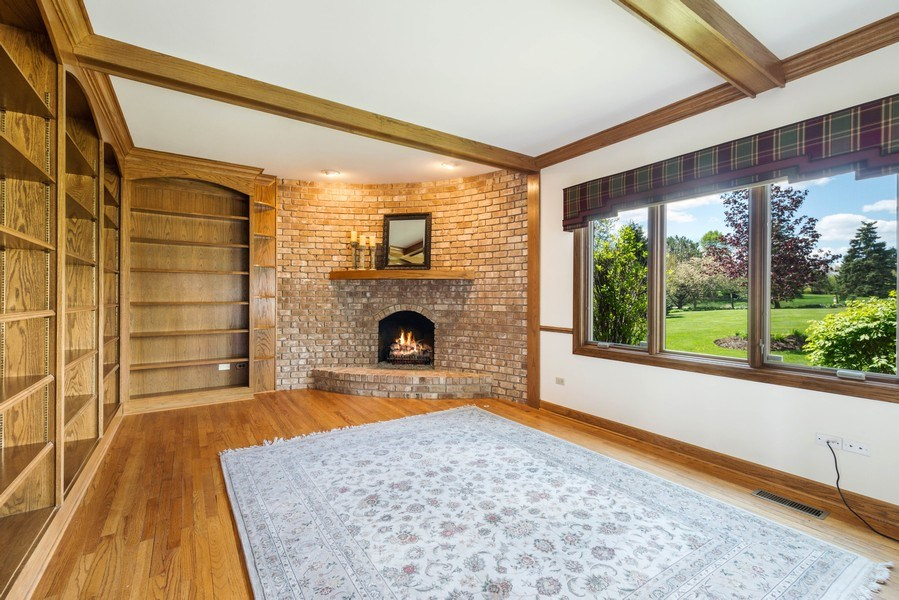 Real Estate Photography - 1314 Dunheath Drive, Barrington, IL, 60010 - Library with Fire Place