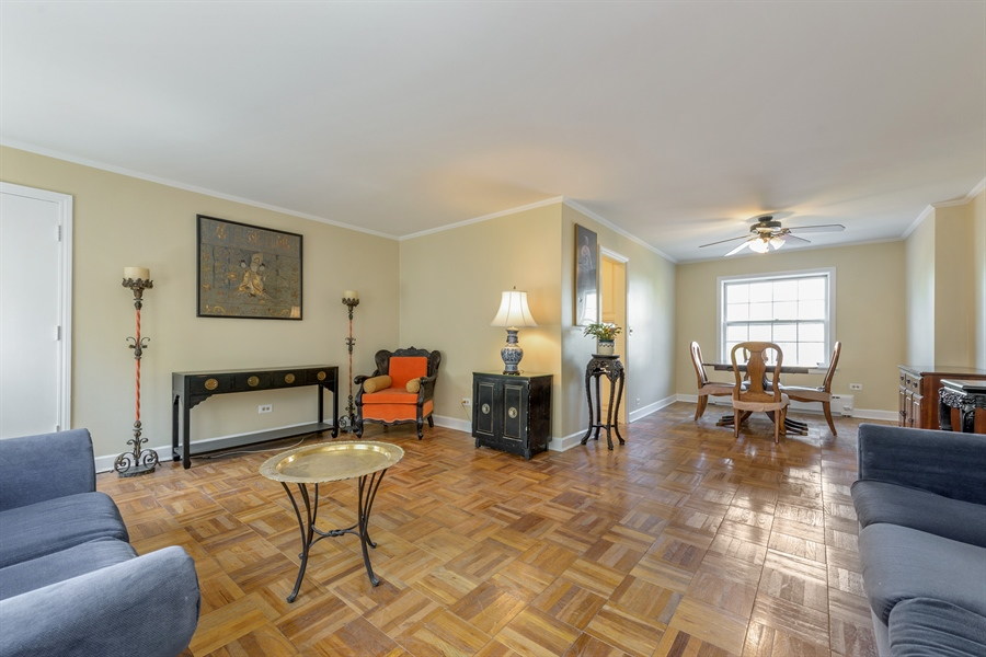 Real Estate Photography - 1406 Hinman Avenue, Unit 1N, Evanston, IL, 60201 - Living Room / Dining Room