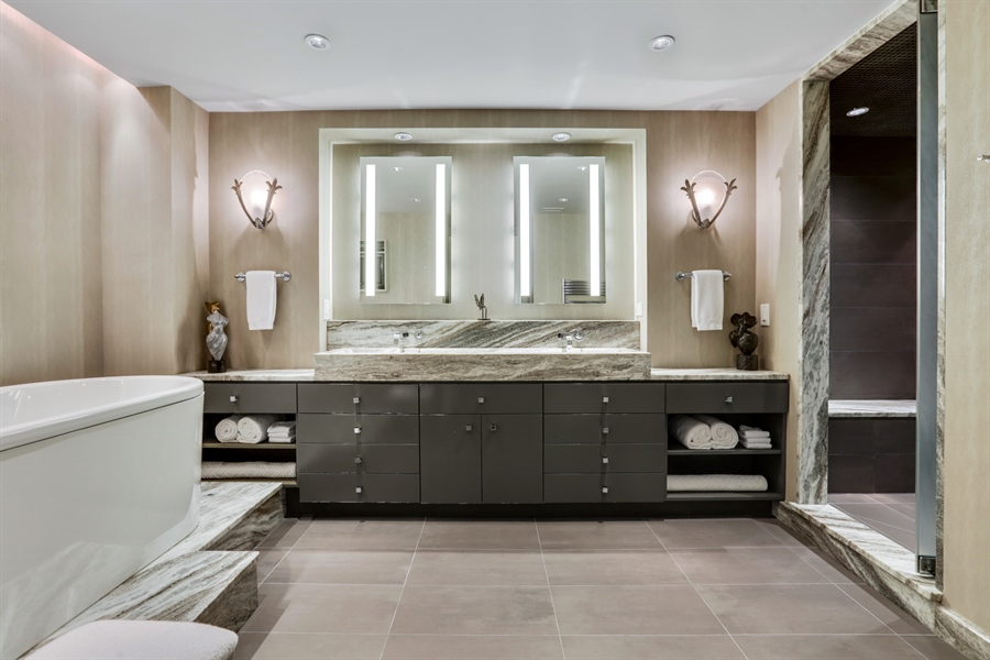 Real Estate Photography - 189 E. Lake Shore Drive, Unit 2E, Chicago, IL, 60611 - Master Bathroom