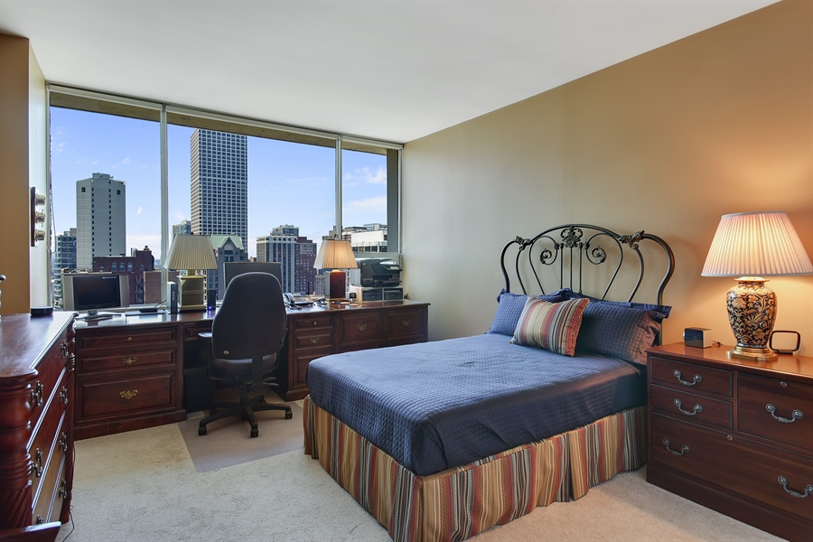 Real Estate Photography - 1000 N. Lake Shore Plaza, Unit 24C, Chicago, IL, 60611 - 2nd Bedroom