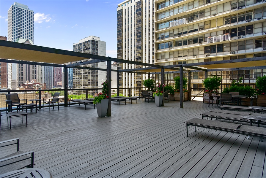 Real Estate Photography - 1000 N. Lake Shore Plaza, Unit 24C, Chicago, IL, 60611 - Common Sundeck
