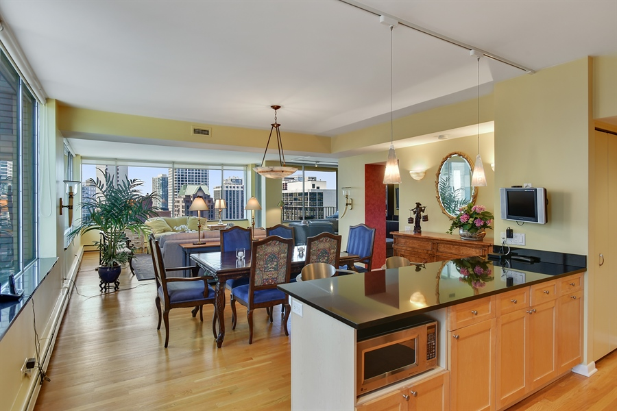 Real Estate Photography - 1000 N. Lake Shore Plaza, Unit 24C, Chicago, IL, 60611 - Kitchen / Dining Room