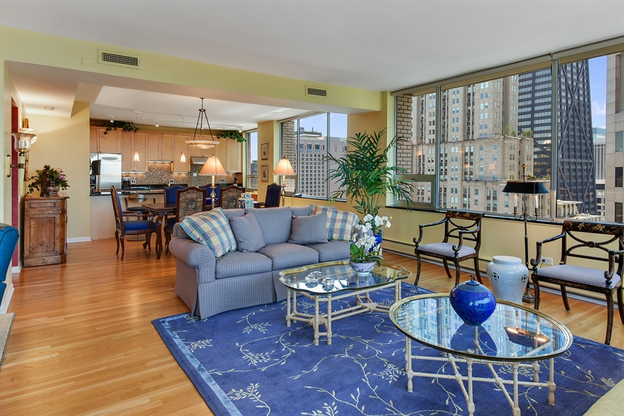 Real Estate Photography - 1000 N. Lake Shore Plaza, Unit 24C, Chicago, IL, 60611 - Living Room / Dining Room