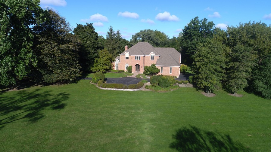 Real Estate Photography - 712 Milton Road, Inverness, IL, 60067 - Aerial Front View