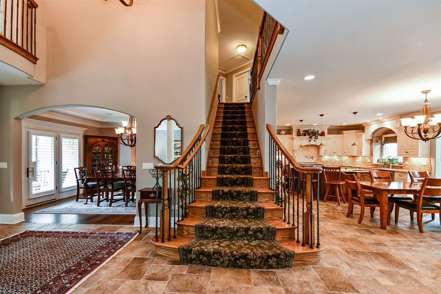 Real Estate Photography - 1404 ROYAL ST. GEORGE Drive, Naperville, IL, 60563 - Custom made flaired mid-foyer staircase