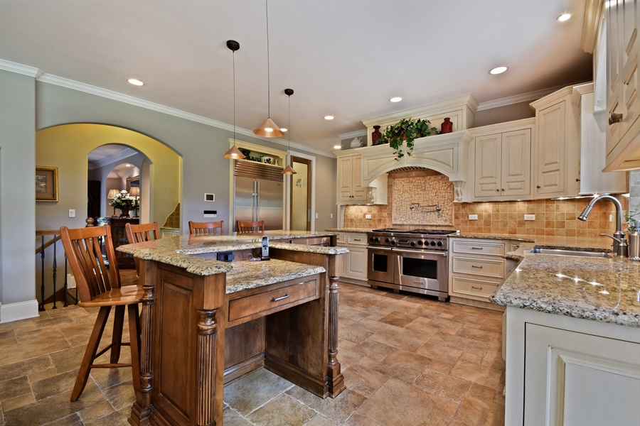 Real Estate Photography - 1404 ROYAL ST. GEORGE Drive, Naperville, IL, 60563 - Gourmet kitchen w/Wolf O/R & Sub-Zero
