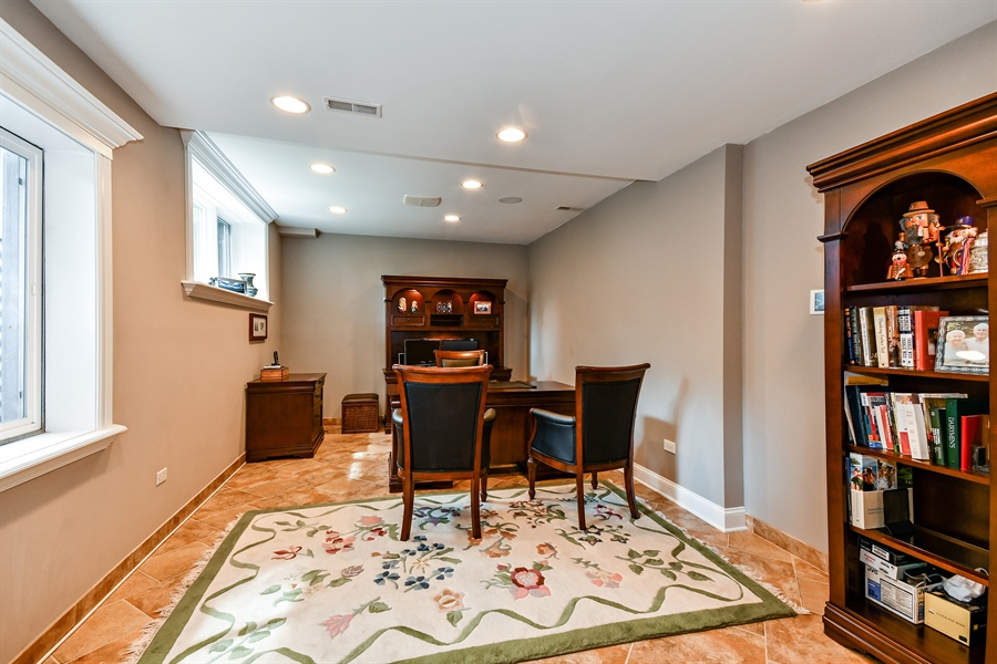 Real Estate Photography - 1404 ROYAL ST. GEORGE Drive, Naperville, IL, 60563 - Lower level private study/office w/full windows